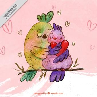 Fundo romântico dos pássaros adoráveis em uma filial