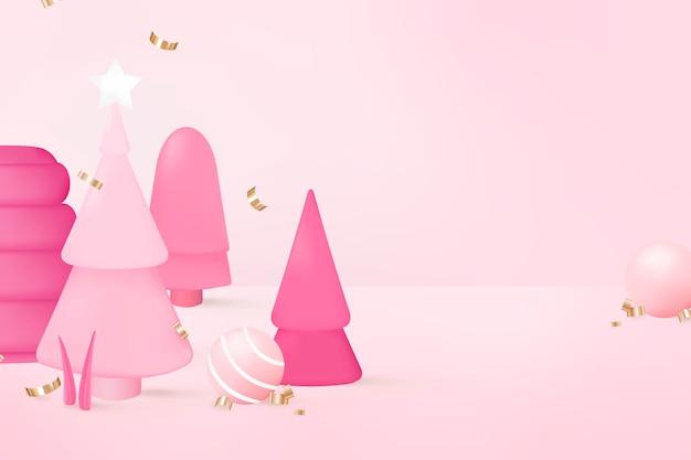Fundo rosa 3d de natal, vetor de design festivo