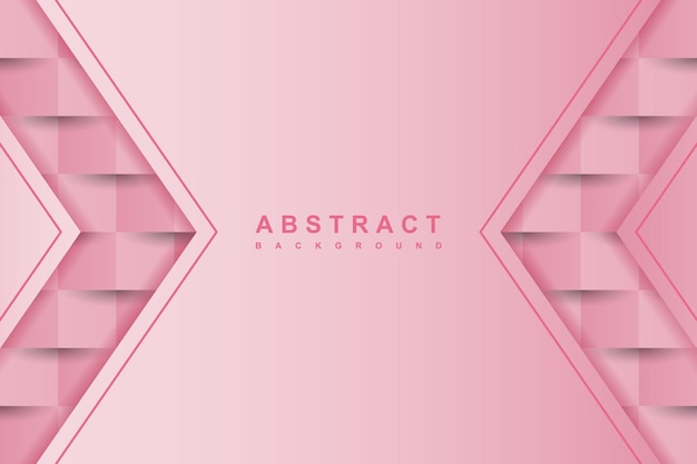 Fundo rosa abstrato com estilo de arte em papel 3d