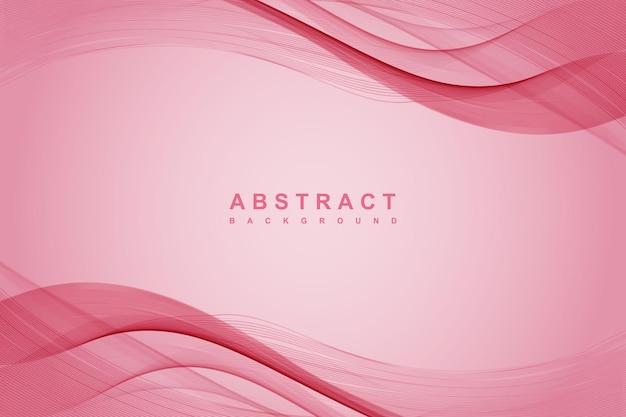 Fundo rosa abstrato com linhas onduladas Vetor Premium