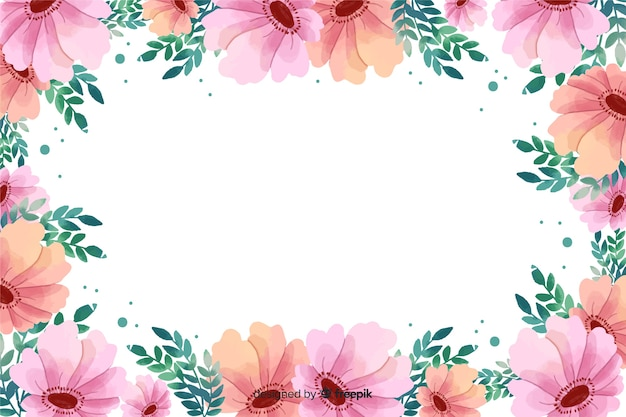Fundo rosa aquarela moldura floral