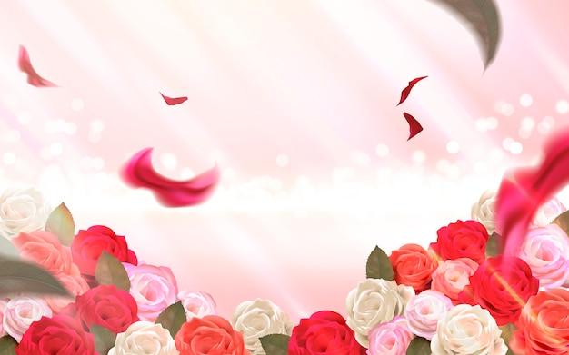 Fundo rosa bokeh com ilustração de rosas