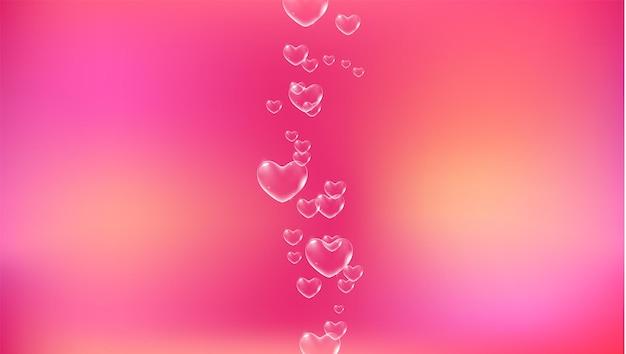 Fundo rosa bonito com bolhas de sabão brancas em forma de coração para vetor de cartão de dia dos namorados