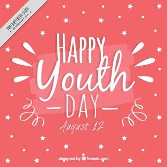 Fundo rosa bonito do dia da juventude com estrelas