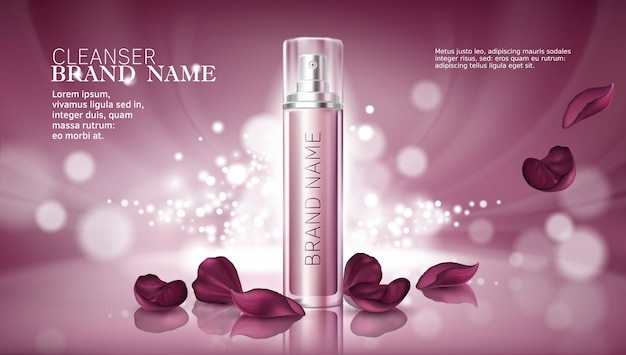 Fundo rosa brilhante com produtos cosméticos hidratantes