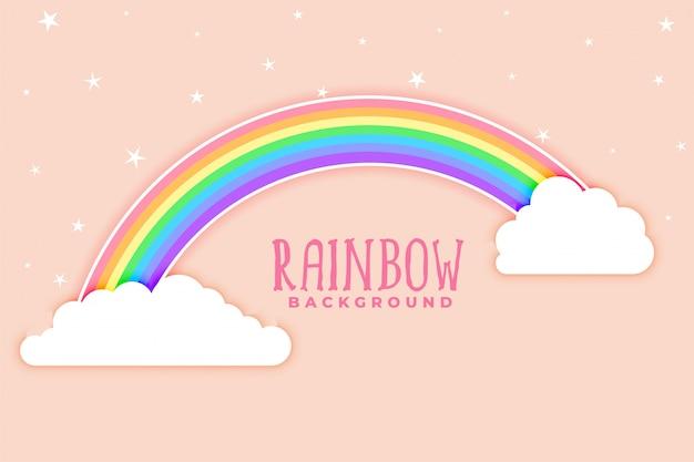 Fundo rosa com arco-íris e nuvens