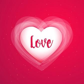 Fundo rosa com coração do amor brilhante