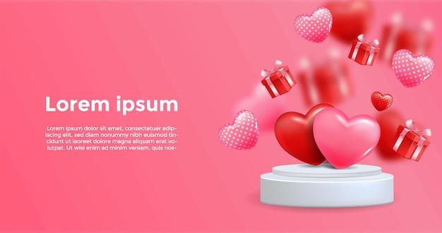 Fundo rosa com elementos 3d realistas do coração no pódio