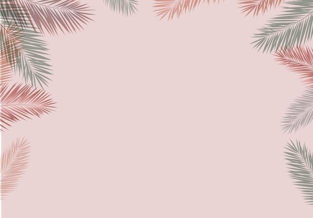 Fundo rosa com folhas de palmeira
