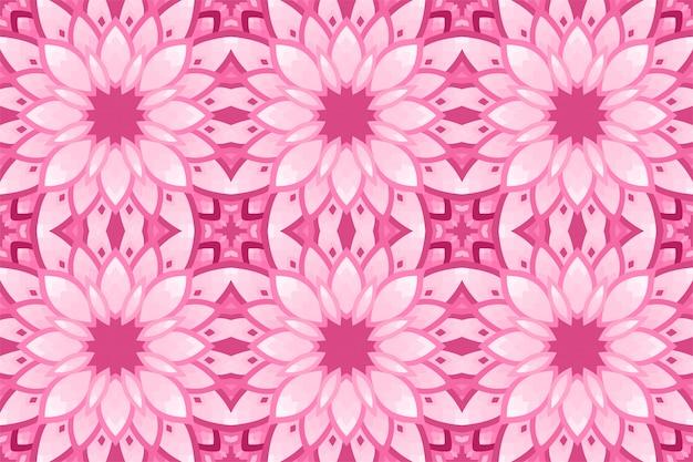 Fundo rosa com padrão floral de azulejos sem costura