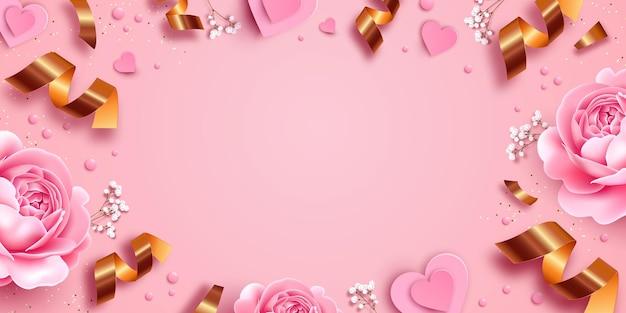 Fundo rosa com rosas e ilustração de papel