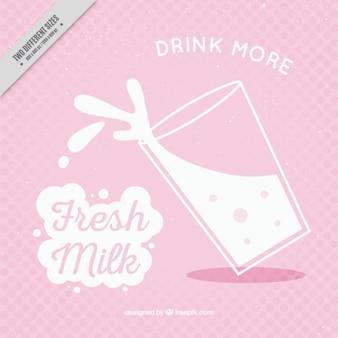 Fundo rosa com vidro do leite no estilo do vintage