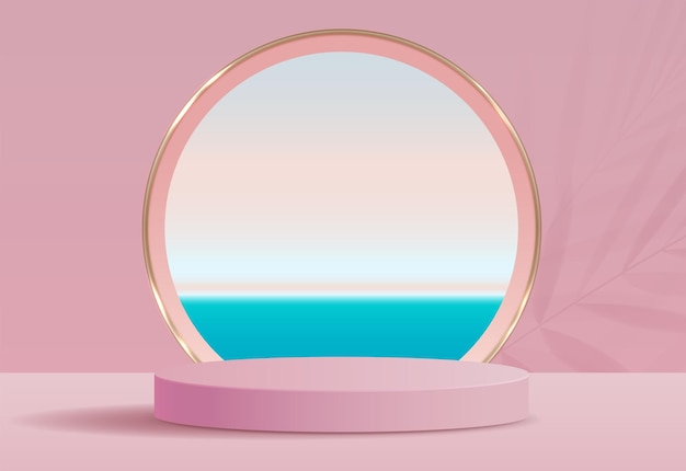 Fundo rosa cosmético e display premium para apresentação de produtos, marca e embalagem