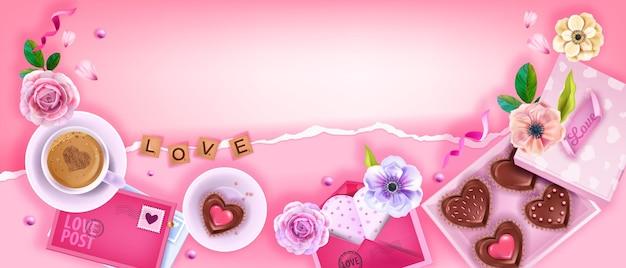 Fundo rosa de dia dos namorados com biscoitos de chocolate de coração, xícara de café, envelopes, rosas, flores. conceito de vista superior do café da manhã do dia das mães nas férias românticas. fundo surpresa do dia dos namorados