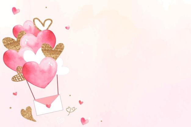Fundo rosa do dia dos namorados com carta de amor voadora