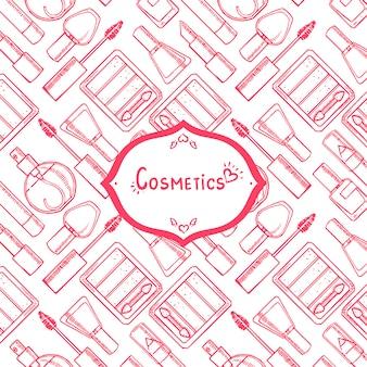 Fundo rosa e branco fofo com cosméticos e lugar para texto