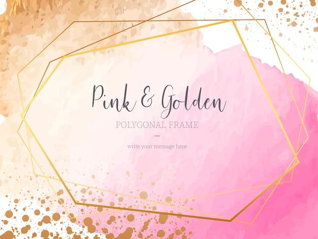 Fundo rosa e dourado com moldura poligonal