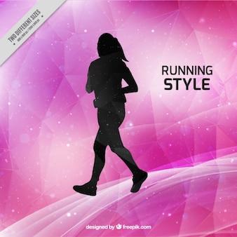 Fundo rosa estilo de corrida com silhueta da mulher