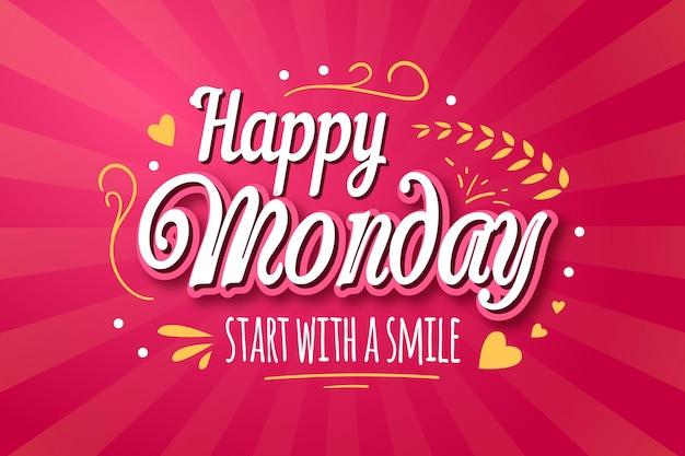 Fundo rosa feliz segunda-feira
