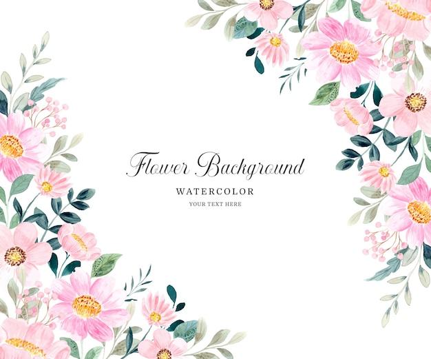 Fundo rosa floral com aquarela