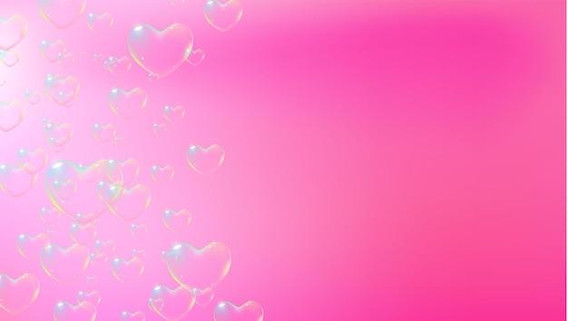 Fundo rosa fofo com bolhas de sabão em forma de coração coloridas para o vetor de cartão de dia dos namorados