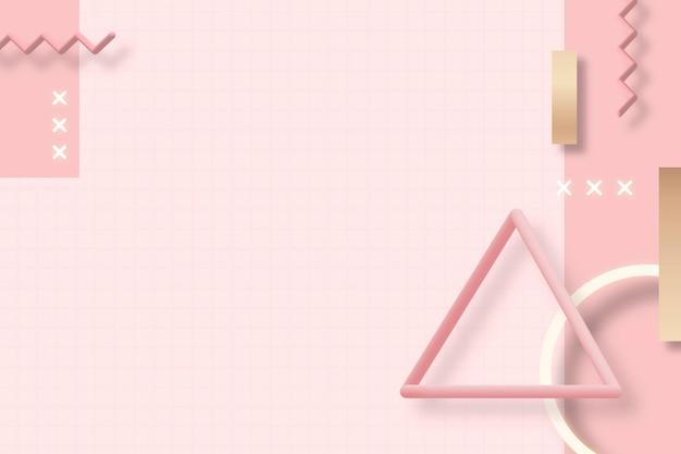 Fundo rosa geométrico de memphis