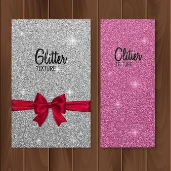Fundo rosa, glitter com arco realista.