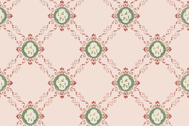 Fundo rosa padrão floral
