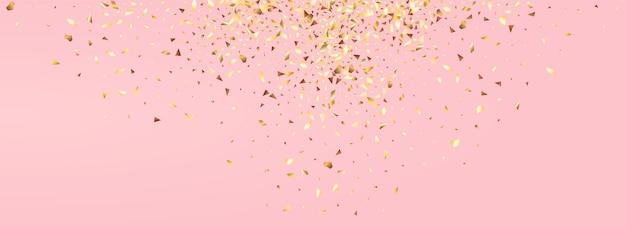 Fundo rosa panorâmico abstrato glitter dourado. fundo festivo de confetes. banner rico de brilho de ouro. ilustração moderna da chuva.