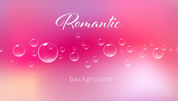 Fundo rosa romântico com ilustração realista de vetor de modelo de cartão de dia dos namorados com bolhas efervescentes