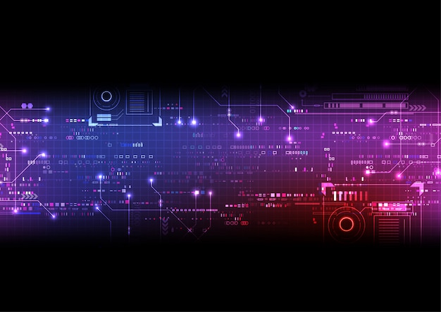 Fundo rosa roxo circuito digital