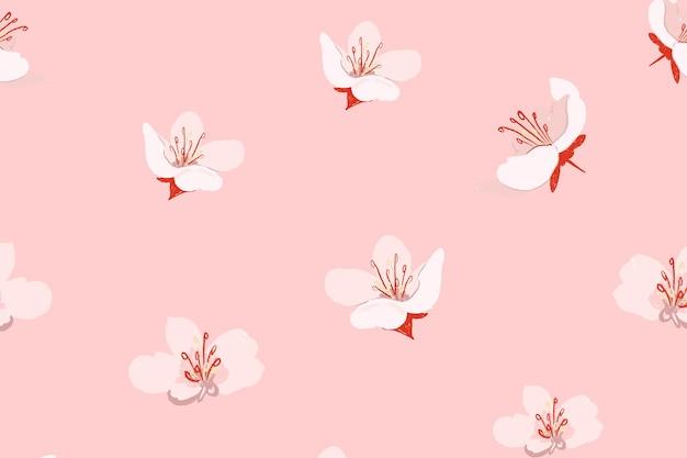 Fundo rosa sakura com padrão floral
