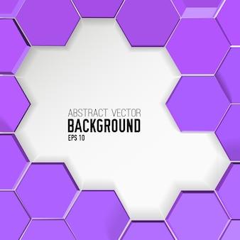 Fundo roxo abstrato com hexágonos geométricos