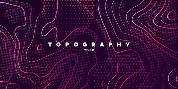 Fundo roxo abstrato com relevo de topografia linear