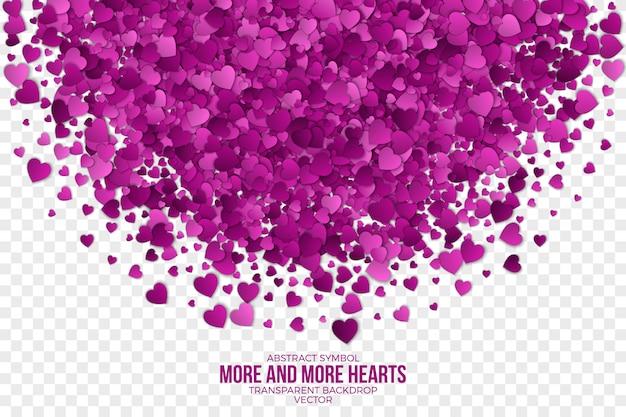 Fundo roxo abstrato dos corações 3d