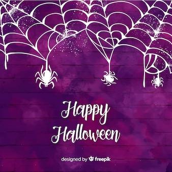 Fundo roxo aquarela de halloween