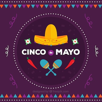 Fundo roxo com elementos mexicanos tradicionais no projeto liso
