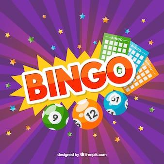 Fundo roxo com estrelas e elementos de bingo