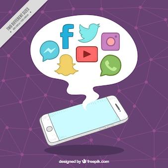 Fundo roxo com telefone móvel e ícones de redes sociais