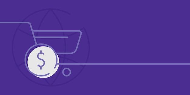 Fundo roxo de compras online