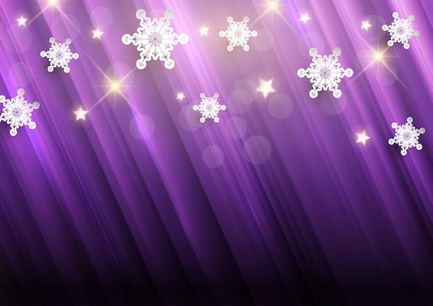 Fundo roxo de natal com flocos de neve e estrelas