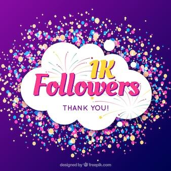 Fundo roxo de seguidores de 1k com círculos coloridos