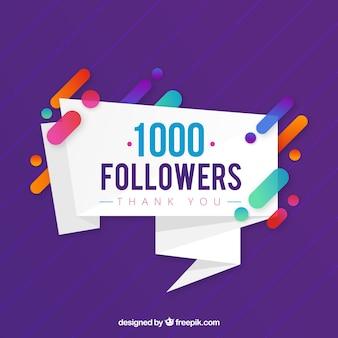 Fundo roxo de seguidores de 1k
