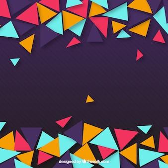 Fundo roxo de triângulos coloridos