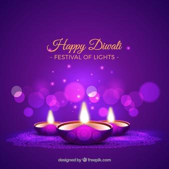 Fundo roxo de velas de diwali