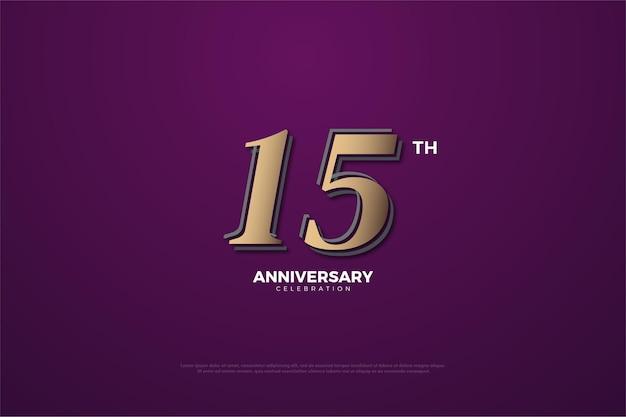 Fundo roxo do 15º aniversário com números 3d