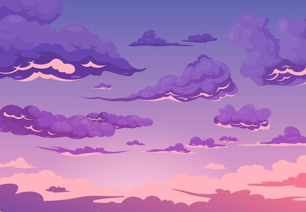 Fundo roxo do céu nublado com grupo de cúmulos e nuvens cirros ilustração plana dos desenhos animados