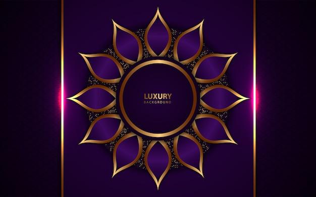 Fundo roxo escuro de luxo com decoração dourada