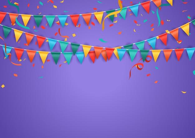 Fundo roxo festa com bandeiras coloridas e ilustração vetorial de confete