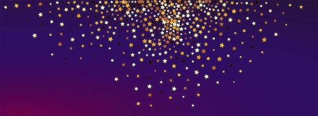 Fundo roxo panorâmico do vetor do céu amarelo. padrão de estrela de glamour de ouro. modelo de queda de brilho. fronteira de espaço brilhante dourado.